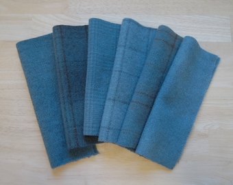Blue Grey Hand Dyed and Felted Wool Fabric Perfect for Rug Hooking, Applique, Quilting, and Craft Projects