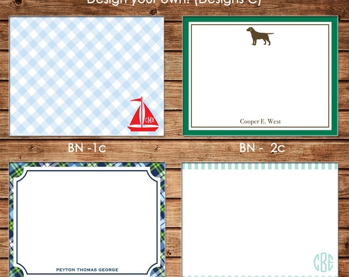 Personalized Boy Flat Notes Notecards Stationery with Envelopes - Design your own - Choose ONE DESIGN