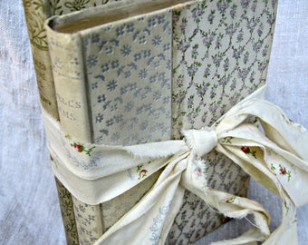 Antique floral books, set of 2 books, floral covered books, Lowell book, Kipling  book small poetry book classic poetry book, gift books