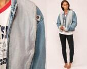 Jean Jacket 80s Denim Jacket COLOR BLOCK Grunge Biker Zip Up Blue Grey 1980s Vintage Hipster Medium
