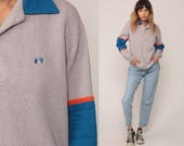 80s Sweatshirt HANG TEN Shirt Grey Striped Slouch Hipster Sports Pullover Polo Sweatshirt 1980s Vintage Hipster Medium
