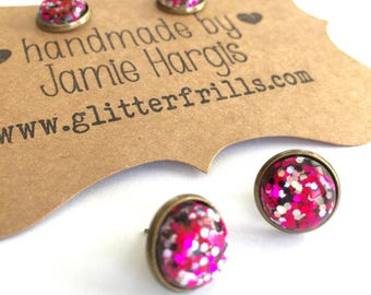 Rockstar stud earrings. Hot pink and black earrings. Glittery earrings. Glitter resin stud earrings. Party accessories. Gifts under 10.