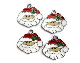 Enamel Santa Claus Charms (4)