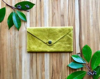 Leather Wallet - Envelope Style - The Lupe - in Chartreuse Yellow