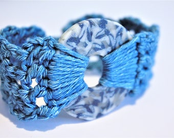 Blue and Silver Polymer Clay Crochet Bracelet