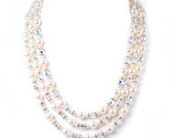 3 strand pearl and crystal necklace made with Swarovski Elements