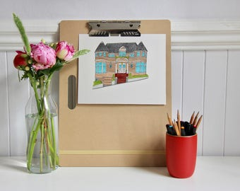 "Mrs. Doubtfire House Illustration (8x10"")"
