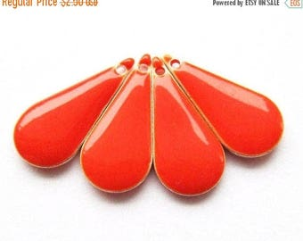 20% OFF Metal & Epoxy Teardrop Drops - Silver Plated Fire Orange (4 drops) - spa419