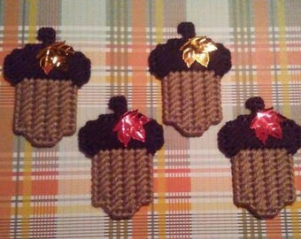 4 Handmade  Acorn Magnets Medium Brown