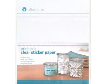 Silhouette Printable Clear Sticker Paper, 8.5 x 11 inches, adhesive backed sheets