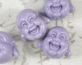 SaVE 30% 4 Buddha Head Beads Lilac Purple Happy Laughing 3-D 18mm - Good Fortune Joss