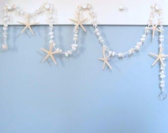 Beach Decor Seashell Garland, Nautical Decor Starfish Garland, White Shell Garland, Coastal Decor, Beach Christmas Garland, 5FT