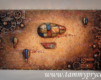 """Original Steampunk Mixed Media, Collage, with 3 dimensional Hand Sculpted, Hot Air Balloons & Airships 10x20"""" Canvas, Home Decor,  Wall Art"""