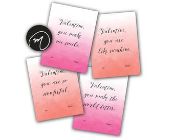 Printable Valentines Cards – Set of 4 – Watercolor Valentines – Encouraging Valentines Cards – Valentines Day Card Set – Simple Valentines