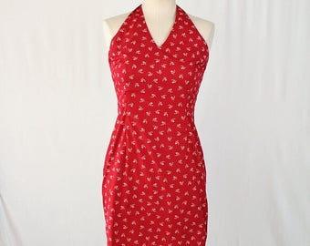 Moving Sale Red Halter Dress / Size 4 Ralph Lauren Vintage 90s Party Dress