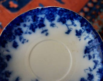 Vintage Flow Blue Plate Saucer Vermont Burgess and Leigh Blue and White English China England