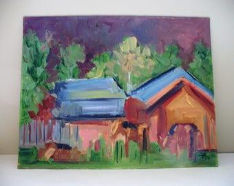 Horse Large Painting Barn Wall Art Farm Landscape Oil on canvas board 11 x 14