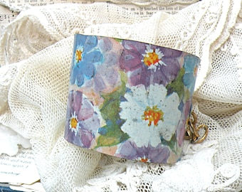 wide upcycled tin cuff bracelet eco friendly pastel floral daisy summer cute cottage chic