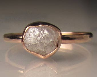 Raw Diamond Engagement Ring, 14k Rose Gold Rough Diamond Ring, Hammered Rough Diamond Ring