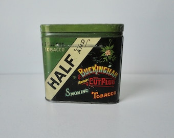 1930s Roll Cut Half Buckingham bright Cut Plus  Smoking Tobacco Tin.