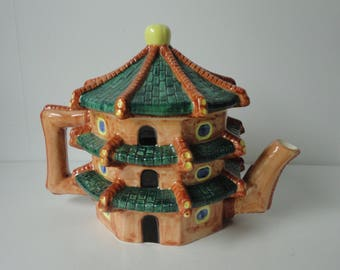 1983 House of KATAYAMA Buddhist Temple shaped Ceramic Teapot. Free Sh.