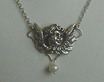 Heavy Sterling Silver Cupid Necklace