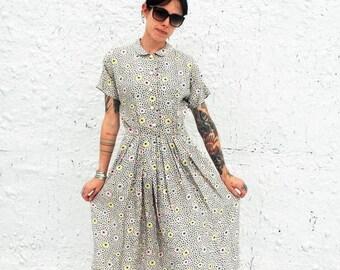 25% OFF SALE Vintage 1950s Atomic Print Starburst Day Dress XS/S