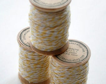25% Off Summer Sale Packaging Twine - 30 Yards on Wooden Spool - Lemon Yellow