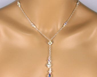 Lariat Necklace Set Crystal Lariat Necklace Drop Lariat Stacey