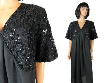 ON SALE 80s Prom Dress 2X Xxl Vintage Black Sequin Lace Cocktail Gown Costume Plus Size Free Us Shipping