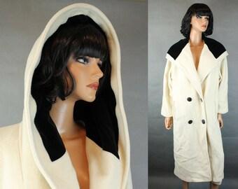Vintage Trench Coat Sz 12 L Long Off White Ivory 100% Wool Black Velvet Hood 80s Free US Shipping