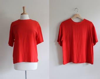 Vintage Cherry Red Silk T-Shirt Top