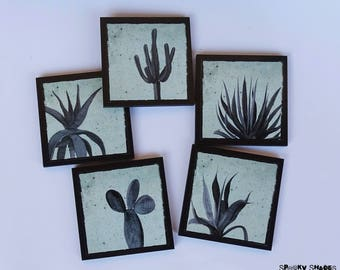Cactus and Agaves teal coasters - set of 5 wooden coasters - Succulents, cacti coasters, contemporary decor, housewarming gift, turquoise