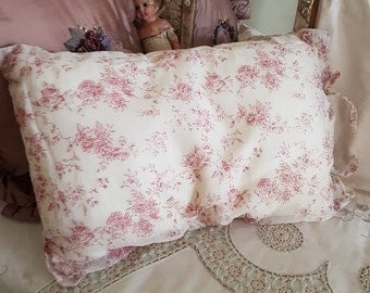 vintage french style cushion, blossom print, shabby cushion, french home, brocante decor, romantic bedroom