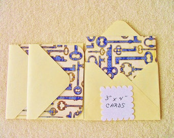 """6 - 3""""x4"""" Mini Note Cards/Gift Cards with envelopes  - Antique Key Design - Free Secondary Shipping"""