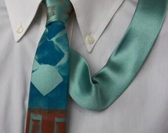 Mint Green Brown Stone ~ Skinny tie