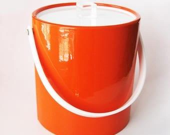 Mod Orange Vinyl Ice Bucket, Bucket Brigade by Morgan Designs