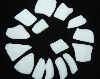 White Faux Sea Glass recycled glass (15 pieces)