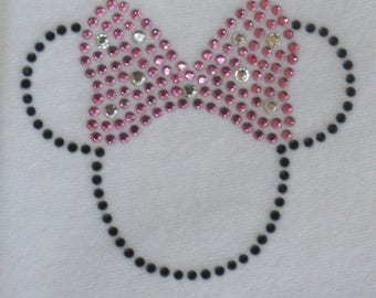 SALE 2.5 inch black/pink Minnie Mouse iron on hot fix rhinestone transfer for Disney t-shirt