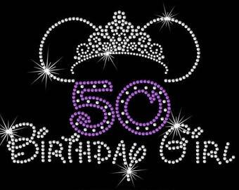 "SALE 9.2"" Minnie Mouse ears tiara 50 Birthday girl iron on rhinestone transfer"