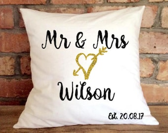 Mr & Mrs Custom Wedding Anniversary Gift Typography Cushion Pillow Cushion Cover Novelty Personalised