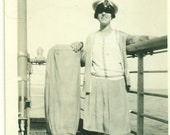 1927 Betty on the Boat from England in Captain's Hat Sailing Ship Travel 20s Vintage Photograph Black White Photo