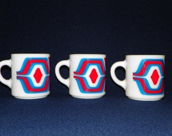 Coffee Mugs, RETRO Red White and Blue Milk Glass Coffee Mugs, Set of 3 and they are Stack-able, Groovy Hippy Mugs