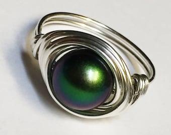 Pearl Ring   Swarovski Pearl Ring   Scarabaeus Green Swarovski Pearl Sterling Silver Ring   Wire Wrapped Ring