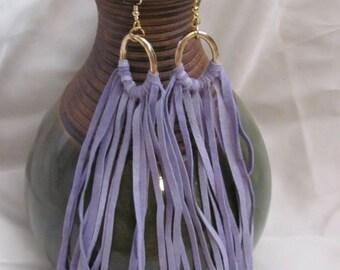"""Earrings Beautiful Unique Purple Suede Leather 6"""" Inch Long Fringe Gold Hoop Earrings (#11H)"""