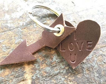 Keychain - Leather Heart and Arrow - Custom Options