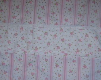 Vintage  shabby chic full double  flat  bed sheet pink roses soft and sweet