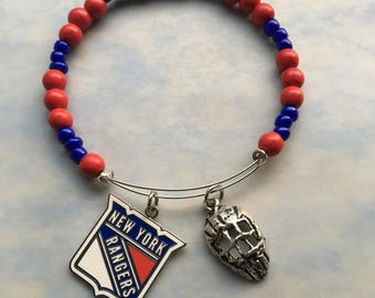 "New York Rangers memory wire bracelet, 2.5"" diameter, 11 "" length , NY Ranger charm, hockey jewelry, NY Ranger gifts, Fits 7  1/2 ""-8 """
