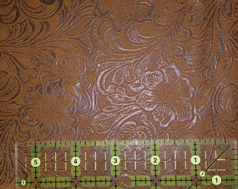 Faux Leather Fabric. Jacobean Floral.