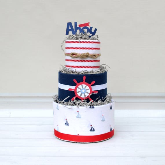 Ahoy It's a Boy Shower, Nautical Baby Shower, Nautical Diaper Cake, Blue and Red Baby Shower Decor, Ahoy Baby Shower Centerpiece, Anchor